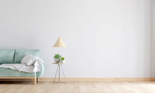 Sofá verde no interior branco da sala de estar com espaço livre