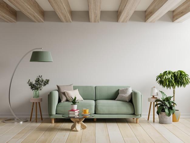 Sofá verde no interior de um apartamento moderno com parede vazia e mesa de madeira, renderização em 3d