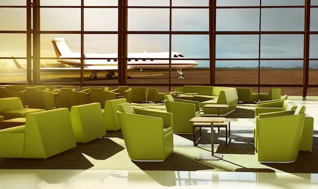 Sofá verde no lobby do aeroporto de luxo
