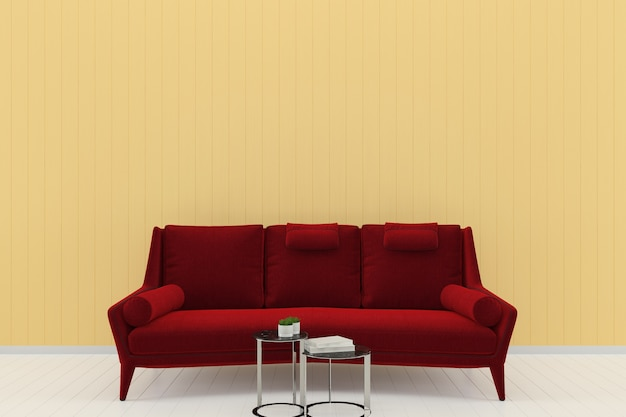 Sofá vermelho amarelo parede pastel branco piso de madeira modelo de textura de fundo livro