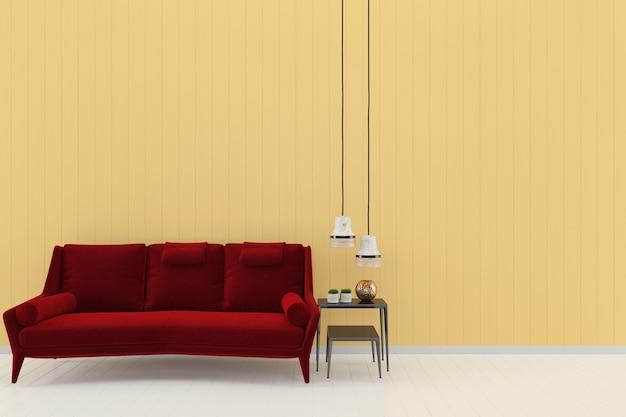 Sofá vermelho amarelo pastel parede branco piso de madeira fundo textura modelo lâmpada