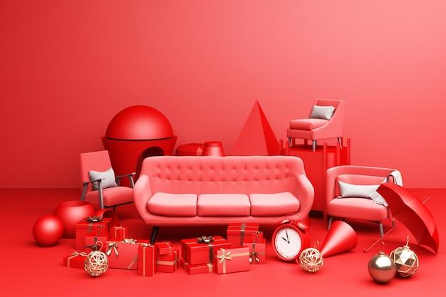 Sofá vermelho e muitas caixas de presentes e formas geométricas em fundo vermelho. renderização 3d