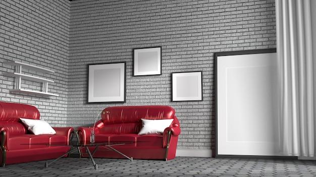 Sofá vermelho em uma sala de visitas com fundo branco da parede de tijolo. renderização em 3d