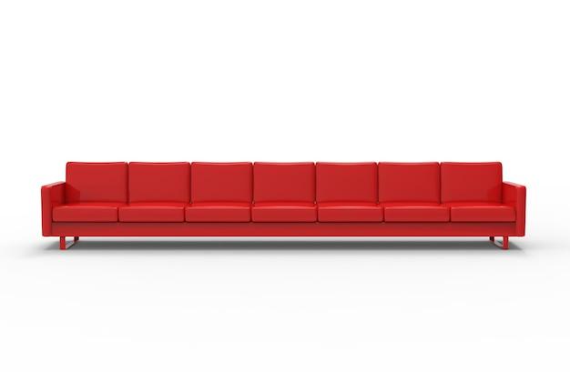 Sofá vermelho extremamente longo, isolado no fundo branco. renderização 3d