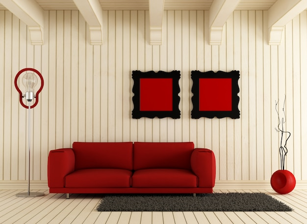 Sofá vermelho na sala de madeira