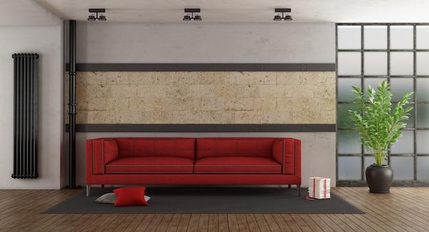 Sofá vermelho no quarto antigo