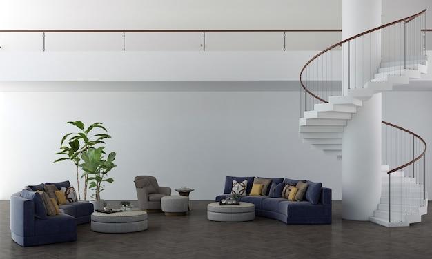 Sofás azuis escuros com piso de plantas e parede branca elegante com fundo de escada