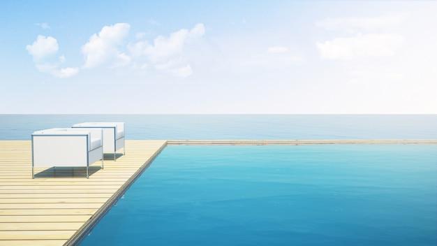 Sofás de conforto piscina infinito