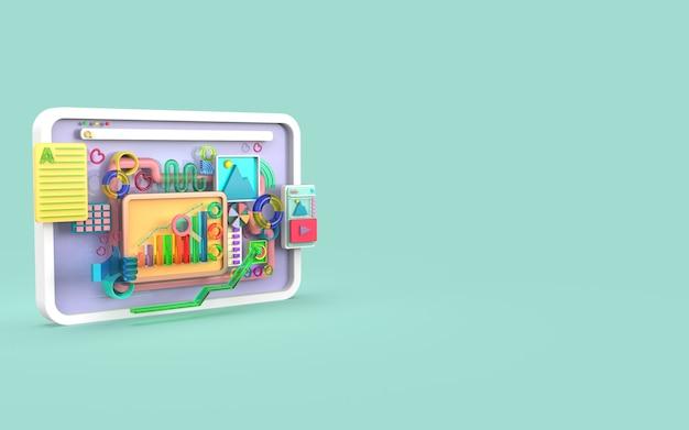 Software de aplicativos móveis e desenvolvimento web com renderização de infográfico de gráfico de barras de formas 3d