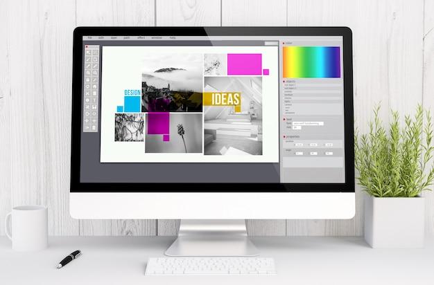 Software de design gráfico de renderização 3d no computador. todos os gráficos da tela são compostos.