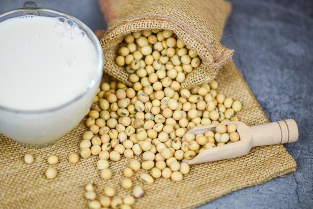 Soja no saco e leite de soja no copo em cinza branco - dieta saudável do leite e proteína natural do feijão