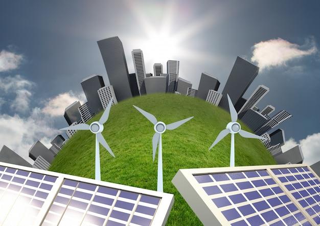 Sol fornecimento de energia livro paisagem urbana focada