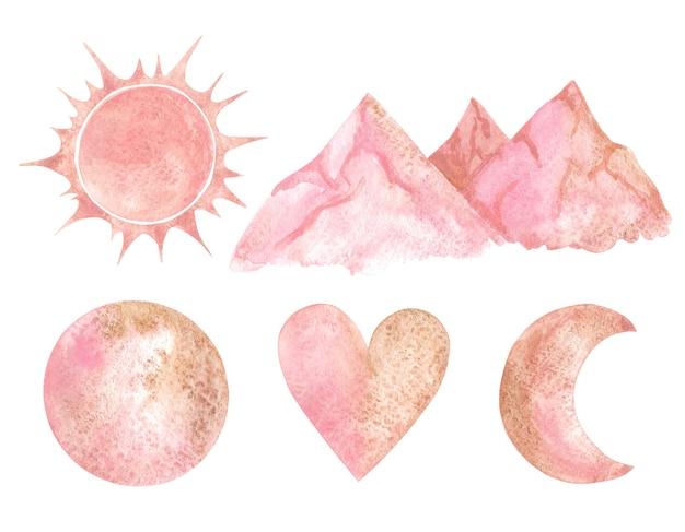Sol, montanhas, lua, crescente e clipart rosa coração.