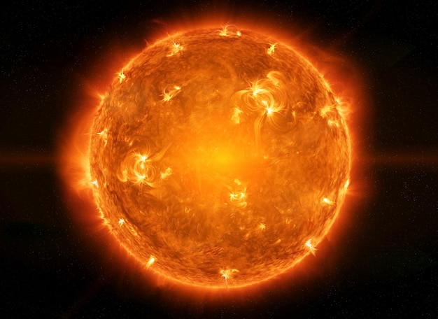 Sol poderoso no espaço