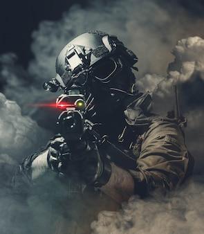 Soldado da polícia das forças especiais, membro da equipe swat