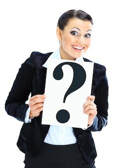 Solicitações de linda empresária com o pôster da pergunta.