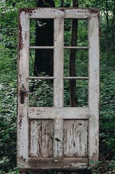 Solitária porta branca velha com pintura rachada e janelas quebradas na floresta