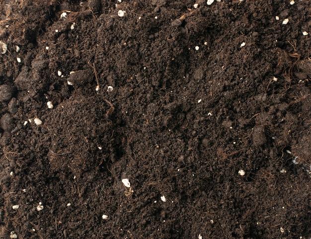 Solo com fertilizantes minerais para fundo de textura de jardinagem