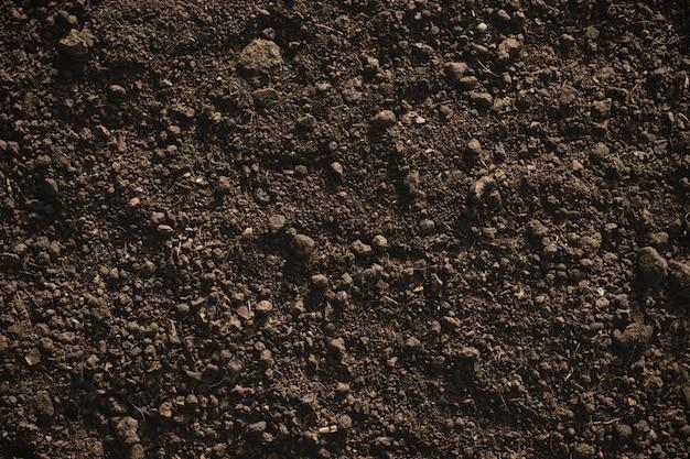 Solo de barro fértil adequado para o plantio, textura do solo.