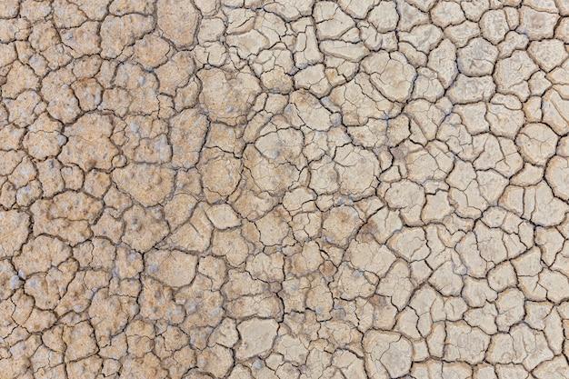 Solo seco marrom ou textura do solo rachado.