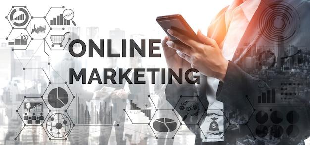 Solução de tecnologia de marketing digital para conceito de negócio online.