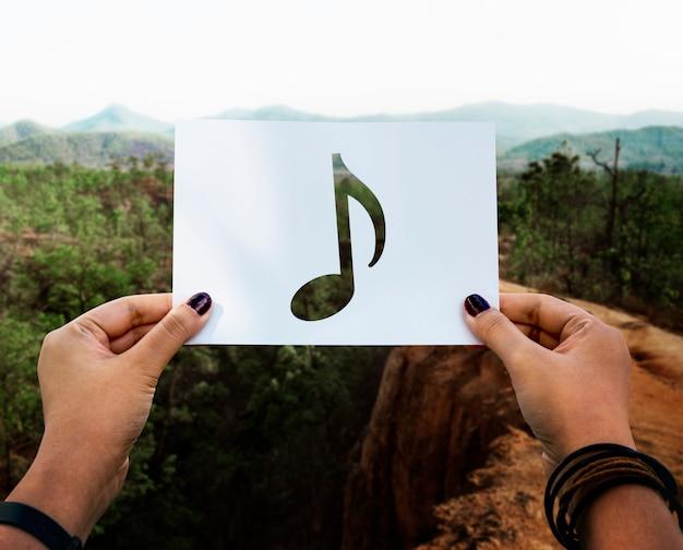 Som da música perfurada nota musical paer