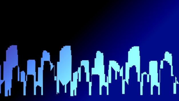 Sombra da cidade nas luzes azuis. imagem artesanal da paisagem urbana.