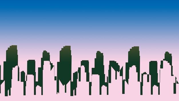 Sombra da cidade nas luzes azul e rosa. imagem artesanal da paisagem urbana.