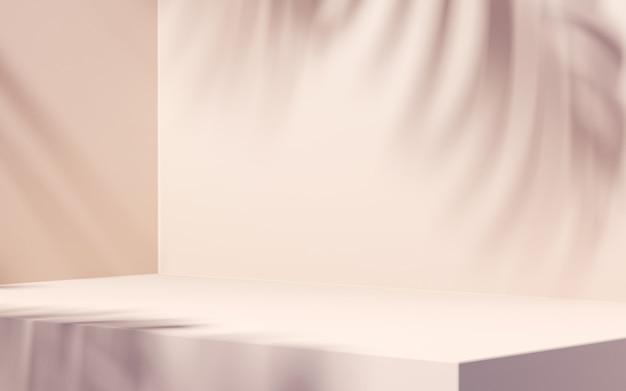 Sombra de folha em fundo branco para apresentação do produto