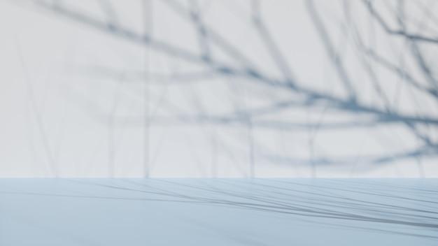 Sombra de galho de árvore na parede. renderização 3d