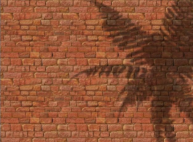 Sombra de samambaia 3d em fundo de tijolo antigo