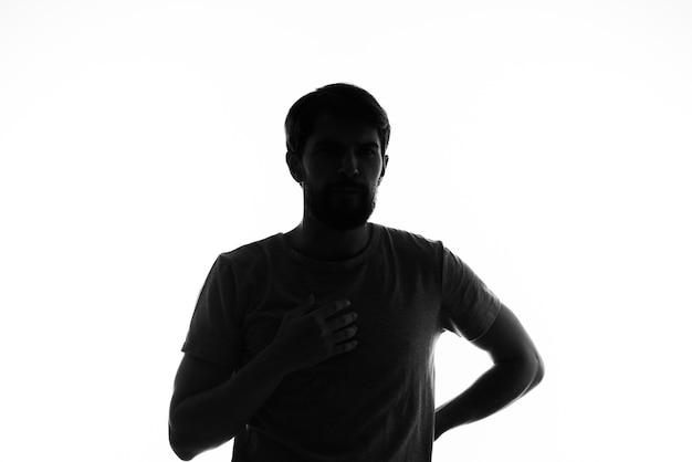 Sombra homens silhueta gesto mãos emoções dispensando. foto de alta qualidade