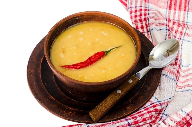 Sopa de creme quente de cereais diferentes