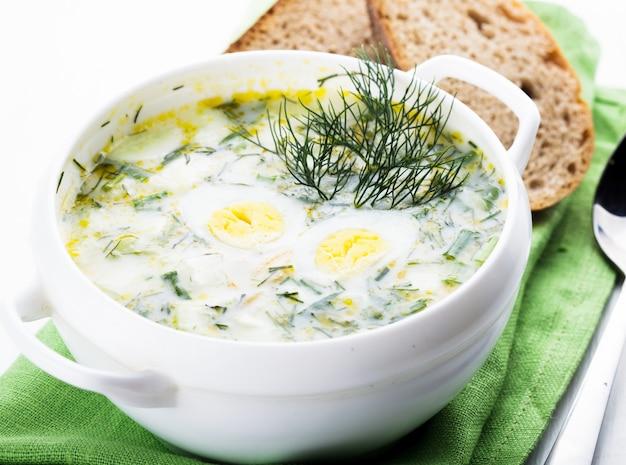 Sopa de hash da primavera em uma tigela branca no guardanapo verde