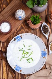 Sopa de iogurte ervas espinafre especiarias vista superior