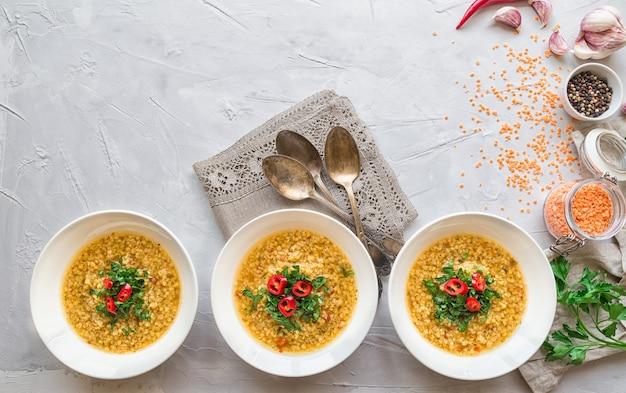 Sopa de lentilha caseira em tigelas com ingredientes em fundo cinza de concreto. comida vegetariana saudável.