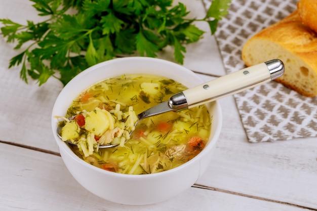 Sopa de macarrão caseiro quente de frango em colher