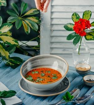Sopa de tomate em cima da mesa