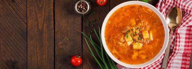 Sopa tradicional do russo com couve - sopa de chucrute - shchi. vista do topo