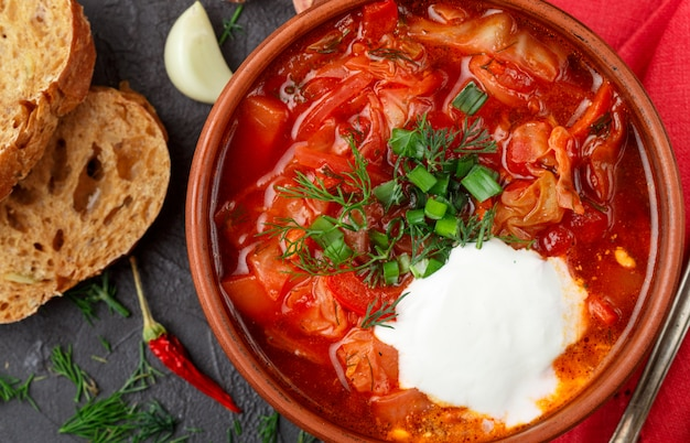 Sopa vermelha de legumes tradicional ucraniana e russa