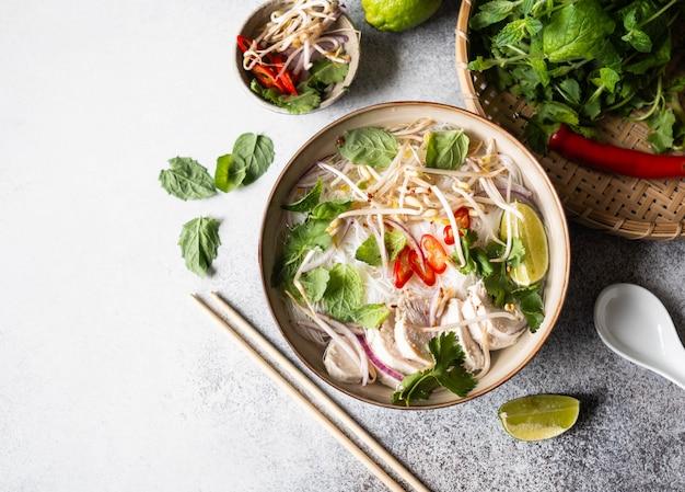 Sopa vietnamita tradicional-pho ga em tigela com macarrão de frango e arroz