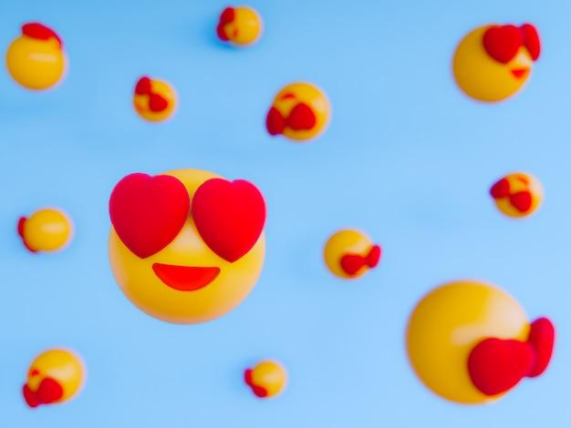 Sorria emoji bola amarela. 3d rendem o fundo