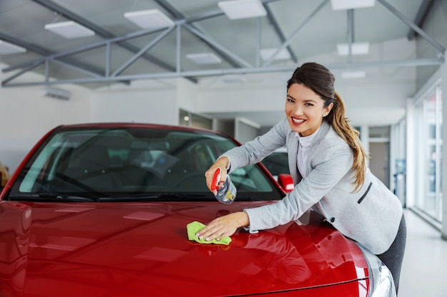 Sorrindo arrumada vendedora de carros femininos esfregando o carro com detergente e pano. tudo deve estar brilhante e limpo.