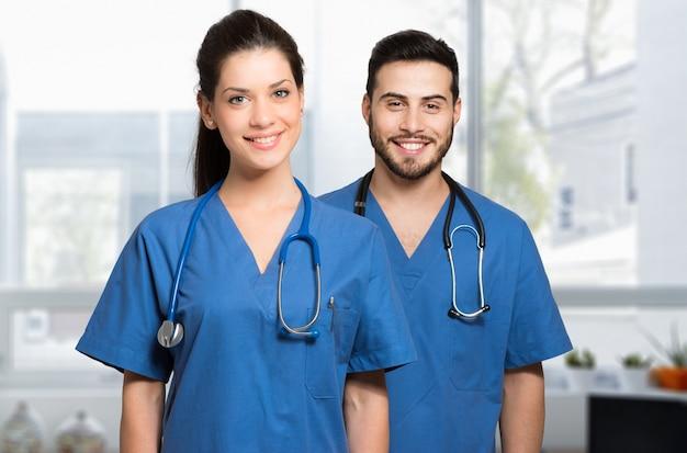 Sorrindo, doutores, com, estetoscópio