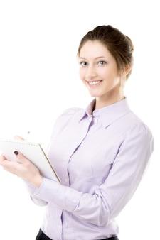 Sorrindo escrita notas secretário