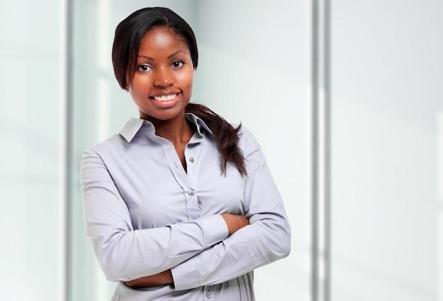 Sorrindo, jovem, africano, executiva