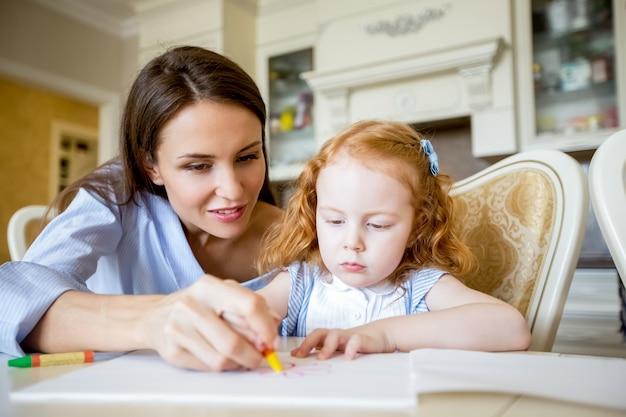 Sorrindo, mãe, nanny, desenho, menina