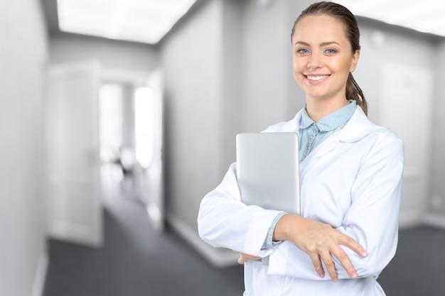 Sorrindo, médico mulher, doutor