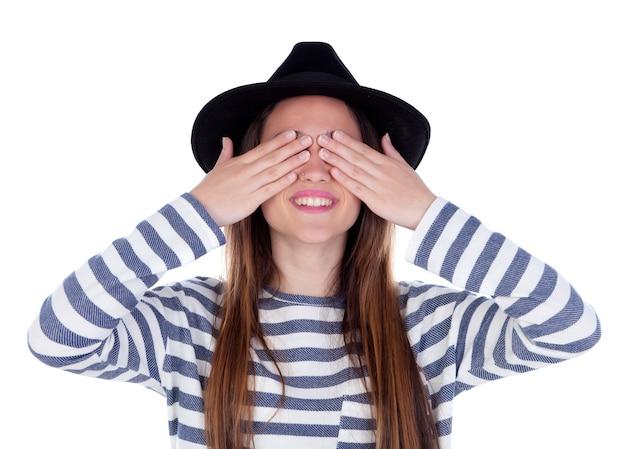 Sorrindo, menina adolescente, com, chapéu preto, cobertura, dela, olhos