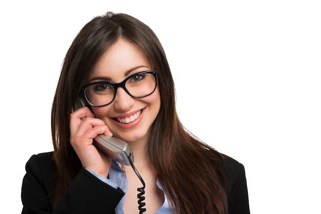 Sorrindo, mulher jovem, conversa telefone